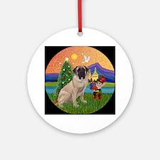 Bull Mastiff Christmas Fantasy Ornament (Round)