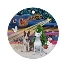 Xmas Magic - Two Bull Terriers Ornament (Round)
