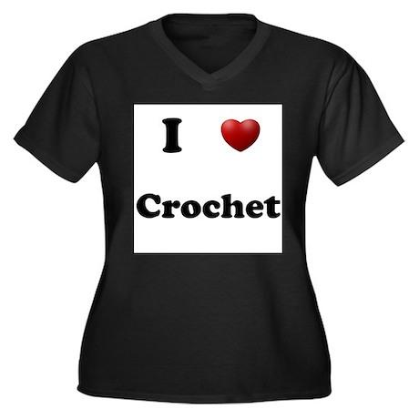 Crochet Women's Plus Size V-Neck Dark T-Shirt