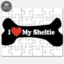 I Love My Sheltie - Dog Bone Puzzle