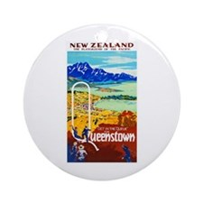 New Zealand Travel Poster 6 Ornament (Round)
