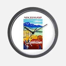 New Zealand Travel Poster 6 Wall Clock