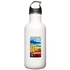 New Zealand Travel Poster 6 Water Bottle