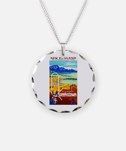 New Zealand Travel Poster 6 Necklace