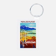 New Zealand Travel Poster 6 Keychains