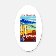New Zealand Travel Poster 6 Oval Car Magnet