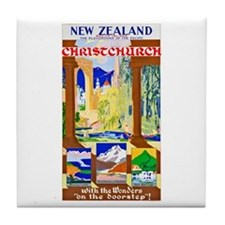 New Zealand Travel Poster 1 Tile Coaster
