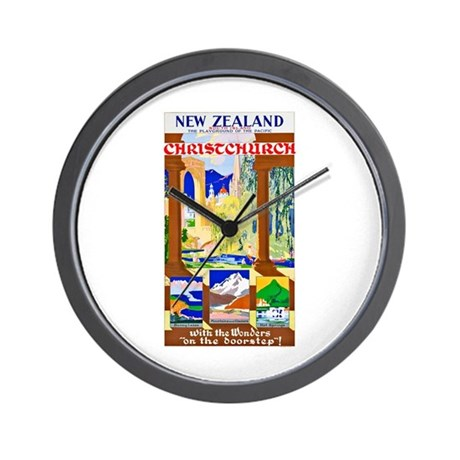 New Zealand Travel Poster 1 Wall Clock