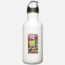 New Zealand Travel Poster 1 Water Bottle
