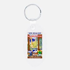 New Zealand Travel Poster 1 Keychains