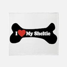 I Love My Sheltie - Dog Bone Throw Blanket