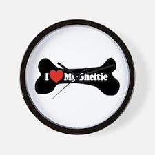 I Love My Sheltie - Dog Bone Wall Clock