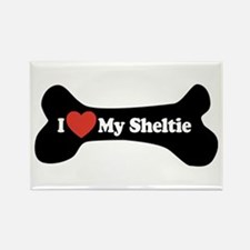 I Love My Sheltie - Dog Bone Rectangle Magnet