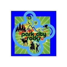 "Park City Rocks Logo Square Sticker 3"" x 3"""