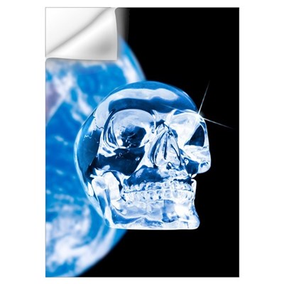 Crystal skull and Earth, artwork Wall Decal
