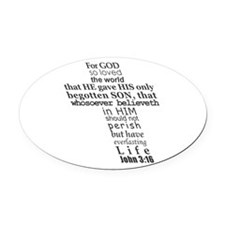 John 3:16 KJV Dark Gray Print Oval Car Magnet
