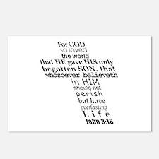 John 3:16 KJV Dark Gray Print Postcards (Package o
