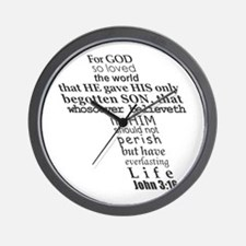 John 3:16 KJV Dark Gray Print Wall Clock