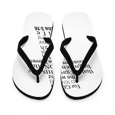 John 3:16 KJV Dark Gray Print Flip Flops