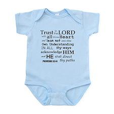 Proverbs 3:5-6 KJV Dark Gray Print Infant Bodysuit