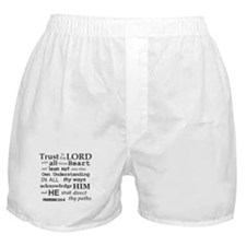 Proverbs 3:5-6 KJV Dark Gray Print Boxer Shorts