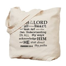 Proverbs 3:5-6 KJV Dark Gray Print Tote Bag