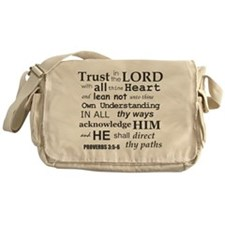 Proverbs 3:5-6 KJV Dark Gray Print Messenger Bag