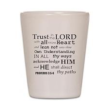 Proverbs 3:5-6 KJV Dark Gray Print Shot Glass