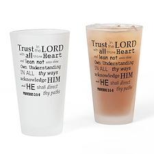 Proverbs 3:5-6 KJV Dark Gray Print Drinking Glass