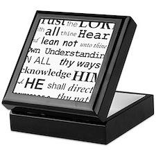 Proverbs 3:5-6 KJV Dark Gray Print Keepsake Box