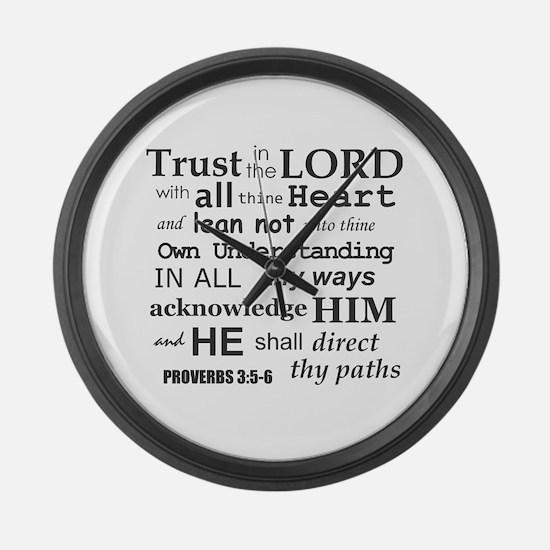 Proverbs 3:5-6 KJV Dark Gray Print Large Wall Cloc