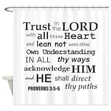 Proverbs 3:5-6 KJV Dark Gray Print Shower Curtain