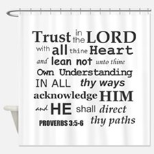 Proverbs 3:5-6 KJV Dark Gray Print Shower Curtain