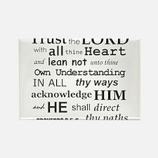 Proverbs 3:5-6 KJV Dark Gray Print Rectangle Magne