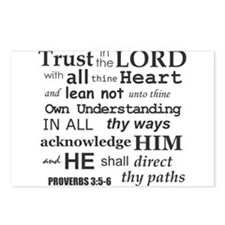 Proverbs 3:5-6 KJV Dark Gray Print Postcards (Pack