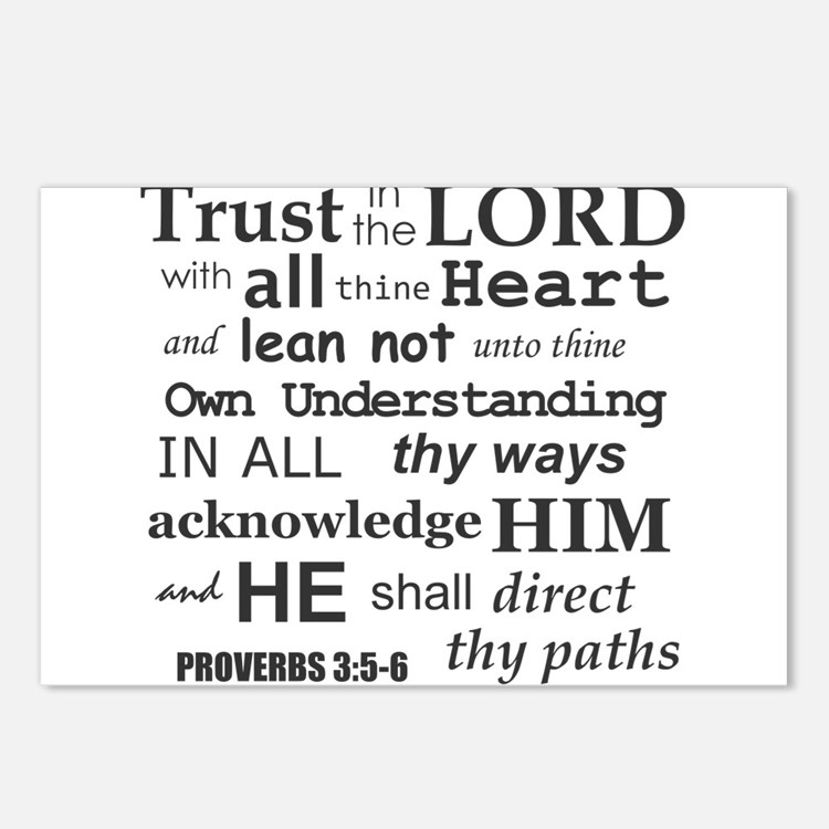 Proverbs 3:5-6 KJV Dark Gray Print Postcards (Pack