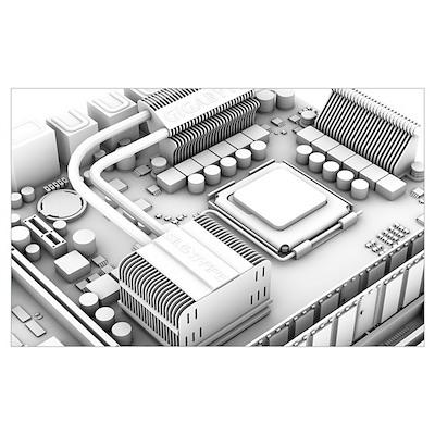Computer motherboard, artwork Poster