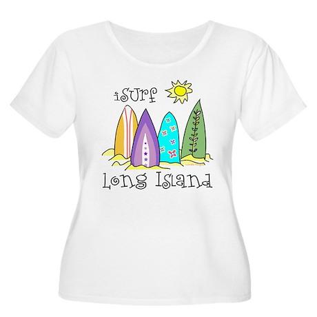 I Surf Long Island Women's Plus Size Scoop Neck T-