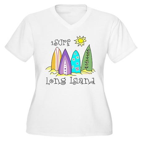 I Surf Long Island Women's Plus Size V-Neck T-Shir