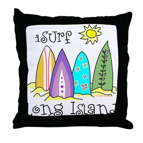 I Surf Long Island Throw Pillow