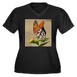Butterfly Women's Plus Size V-Neck Dark T-Shirt
