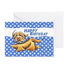 Havanese Blue Polka Birthday Greeting Card