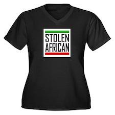 Stolen African Women's Plus Size V-Neck Dark T-Shi