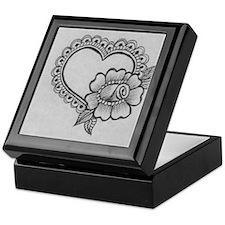 mehndi heart & rose Keepsake Box