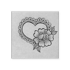 "mehndi heart & rose Square Sticker 3"" x 3"""