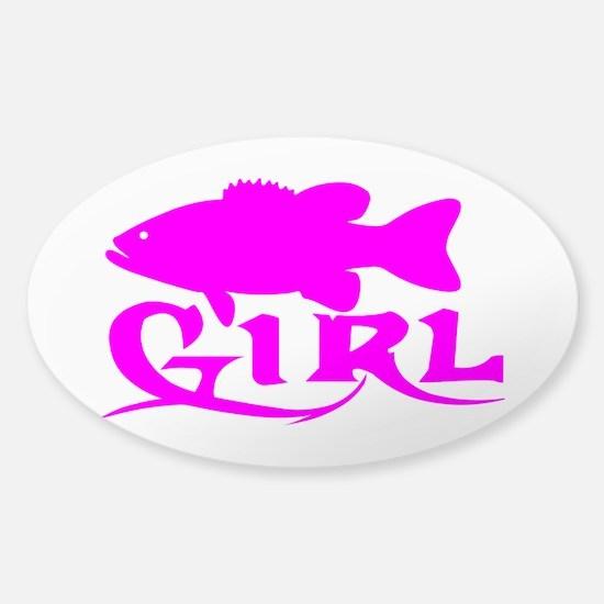 BASS GIRL Sticker (Oval)