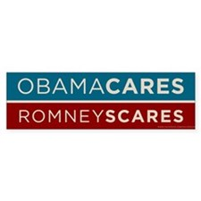 Obama Cares, Romney Scares Bumper Sticker