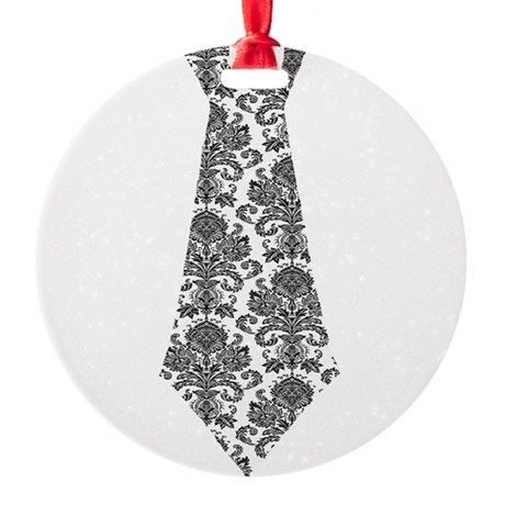 Damask Tie.png Round Ornament