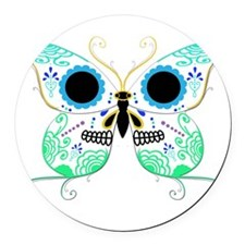 Sugar Skull Multi Color Butterfly 2.png Round Car