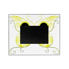 Sugar Skull Yellow Butterfly.png Picture Frame